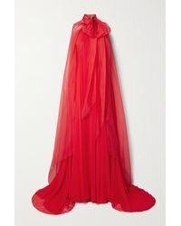 Brandon Maxwell Cape-effect Silk-chiffon Gown - Red