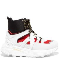 Ganni Suede, Leather, Rubber And Mesh High-top Trainers - White