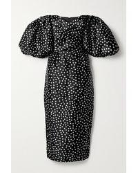 Rasario Off-the-shoulder Polka-dot Silk-organza Midi Dress - Black