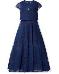 Marchesa notte - Honeycomb Embellished Tulle Midi Dress - Lyst