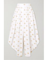 Chloé Cropped Embroidered Cotton-poplin Wide-leg Trousers - White