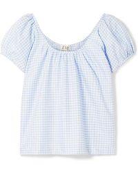 Eve Denim Camille Gingham Cotton Top - Blue