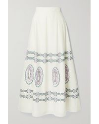Le Sirenuse Camille Embroidered Cotton-voile Maxi Skirt - White