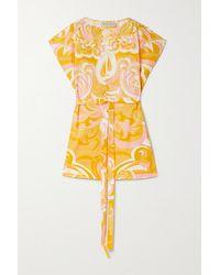 Emilio Pucci Tunique En Coton Imprimé À Ceinture Albizia - Jaune