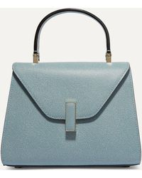 Valextra Iside Mini Textured-leather Tote - Blue