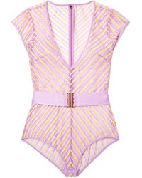 Agent Provocateur - Pettra Belted Embroidered Tulle Bodysuit - Lyst