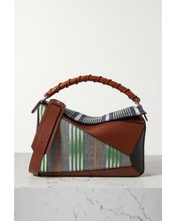 Loewe - + Paula's Ibiza Puzzle Craft Patchwork Leather And Canvas Shoulder Bag - Lyst