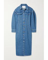 REMAIN Birger Christensen Robe Midi En Jean Edinisa - Bleu