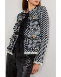 Lanvin Fringed Wool And Cotton-blend Tweed Jacket - Blue