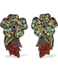 Etro - Crystal, Bead And Felt Clip Earrings - Lyst