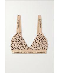 Calvin Klein Triangel-bh Aus Jersey Aus Einer Baumwoll-modalmischung Mit Stretch-anteil Und Gepardenprint - Natur
