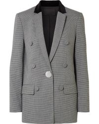 Alexander Wang - Velvet And Leather-trimmed Houndstooth Woven Blazer - Lyst