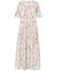 Paloma Blue - Luna Lace-trimmed Floral-print Silk Midi Dress - Lyst