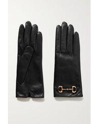 Gucci Horsebit-detailed Leather Gloves - Black