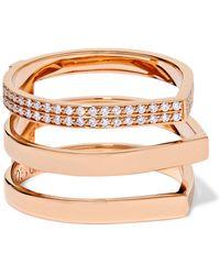 Repossi - Antifer 18-karat Rose Gold Diamond Ring Rose Gold 54 - Lyst