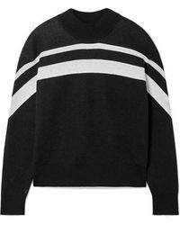 ATM Gestreifter Pullover Aus Einer Baumwollmischung - Schwarz