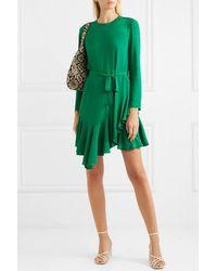 Maje Romea Asymmetrisches Kleid Aus Crêpe Mit Volant Und Bindegürtel - Grün