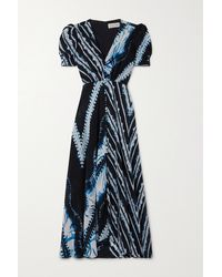 Saloni Robe Midi En Crêpe De Chine De Soie Imprimé Lea - Bleu