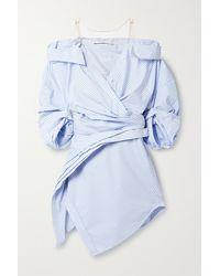 Alexander Wang Mini-robe-chemise Épaules Nues En Popeline De Coton Mélangé À Rayures Et À Finitions En Résille - Bleu