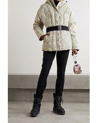 Varley Dowlen Hooded Printed Quilted Down Ski Jacket - White
