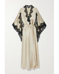 Loretta Caponi Alberta Belted Lace-trimmed Silk-satin Robe - Multicolour