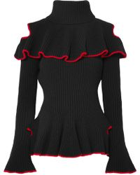 Alexander McQueen - Ruffled Ribbed Wool And Cashmere-blend Sweater - Lyst
