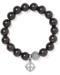 Loree Rodkin - 18-karat Rhodium White Gold, Wood And Diamond Bracelet - Lyst