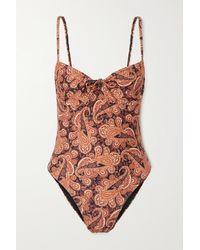 Faithfull The Brand + Net Sustain Mumbai Paisley-print Underwired Swimsuit - Purple