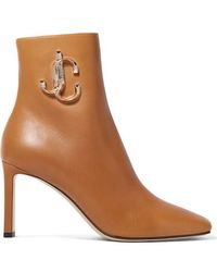 Jimmy Choo Minori 85 Embellished Leather Ankle Boots - Brown