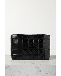 A.W.A.K.E. MODE Large Quilted Faux Glossed-leather Clutch - Black