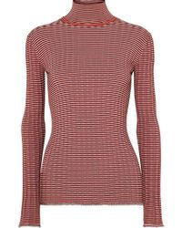Victoria, Victoria Beckham Striped Ribbed-knit Turtleneck Sweater - Red