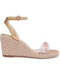 Sophia Webster - Dina Embellished Pvc And Metallic Leather Espadrille Wedge Sandals - Lyst