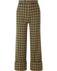 Sea - Ethno Pop Checked Wool-blend Straight-leg Trousers - Lyst