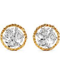 Buccellati Boucles D'oreilles En Or Jaune Et Blanc 18 Carats Et Diamants Ramage - Métallisé