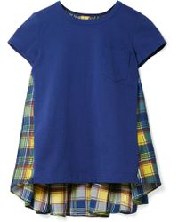 Sacai - Cotton-jersey And Checked Satin T-shirt - Lyst