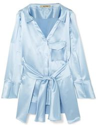 Hellessy Clark Belted Silk-satin Shirt - Blue