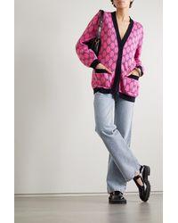 Gucci Cardigan Aus Einer Woll-baumwollmischung Mit Intarsienmuster - Pink