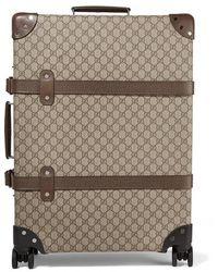 Gucci + Globe-trotter Mittelgroßer Koffer Aus Beschichtetem Canvas Mit Lederbesätzen Und Print - Braun