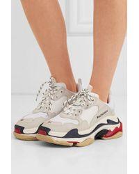 Balenciaga Triple S Sneakers Aus Leder, Nubukleder Und Mesh Mit Logostickerei - Weiß