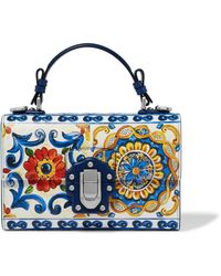 b5e7cf3760ed Dolce   Gabbana - Lucia Printed Textured-leather Shoulder Bag - Lyst