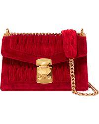 Miu Miu - Confidential Matelassé Velvet Shoulder Bag - Lyst