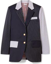 Thom Browne - Patchwork Striped Wool-blend Seersucker And Twill Blazer - Lyst