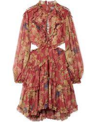 Zimmermann - Mini-robe En Crépon De Soie à Imprimé Fleuri Et à Découpe Melody - Lyst