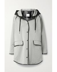 Burberry Leather-trimmed Cotton-canvas Hooded Coat - Natural