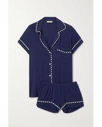 Eberjey Pyjama Aus Jersey Aus Stretch-modal Mit Zackenlitzen - Blau