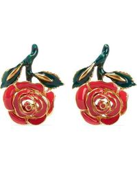 Oscar de la Renta Petite Rose Gold-tone Resin Earrings - Red