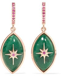 Marlo Laz - Mini Eye 14-karat Rose Gold, Sapphire And Malachite Earrings - Lyst