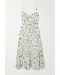 Reformation Landon Lace-trimmed Floral-print Organic Cotton Midi Dress - White