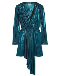 Zeus+Dione Lysia Wrap-effect Draped Stretch-lamé And Silk-crepe Mini Dress - Blue