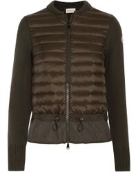 Moncler - Wool And Quilted Shell Down Cardigan - Lyst
